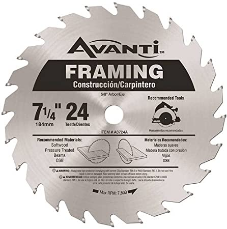 Carbide Framing Saw Blade - 7-1/4inch x 24-Teeth - Circular