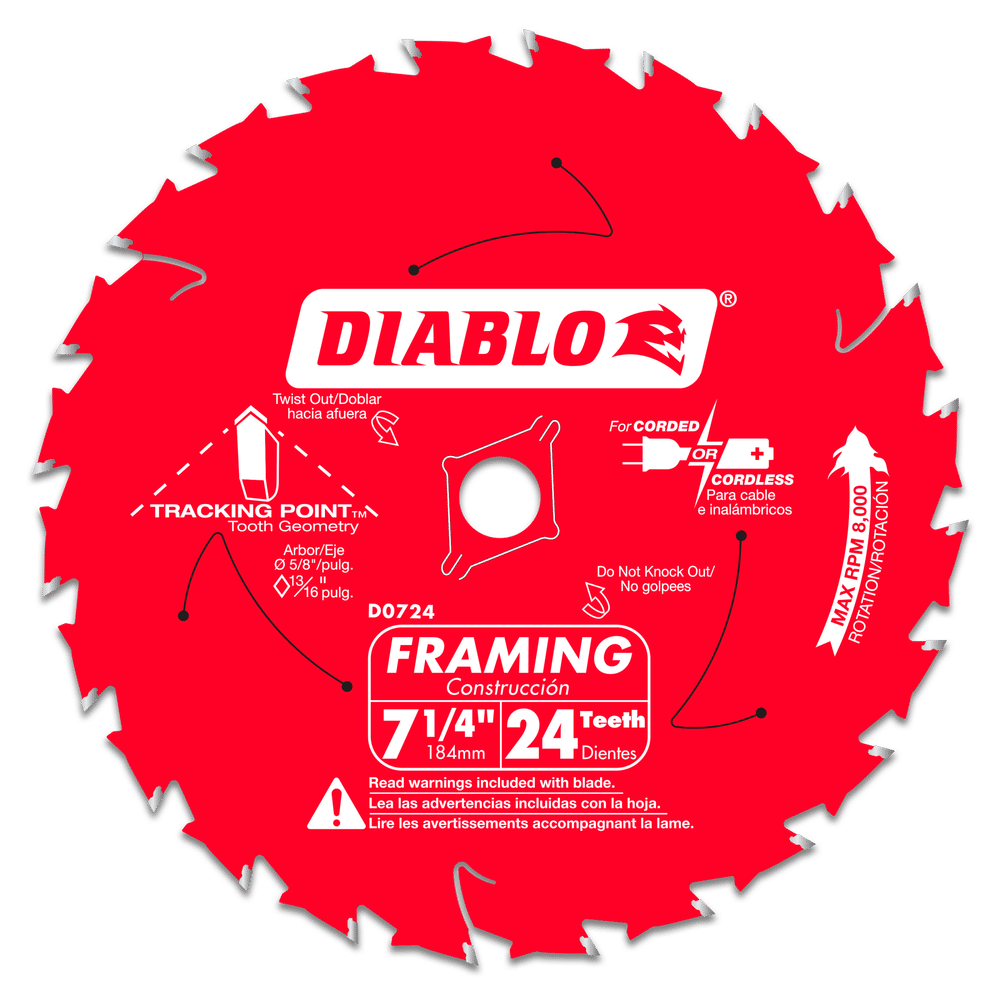 Carbide Blade-Diablo 7-1/4in x 24T 10/BX - Blades