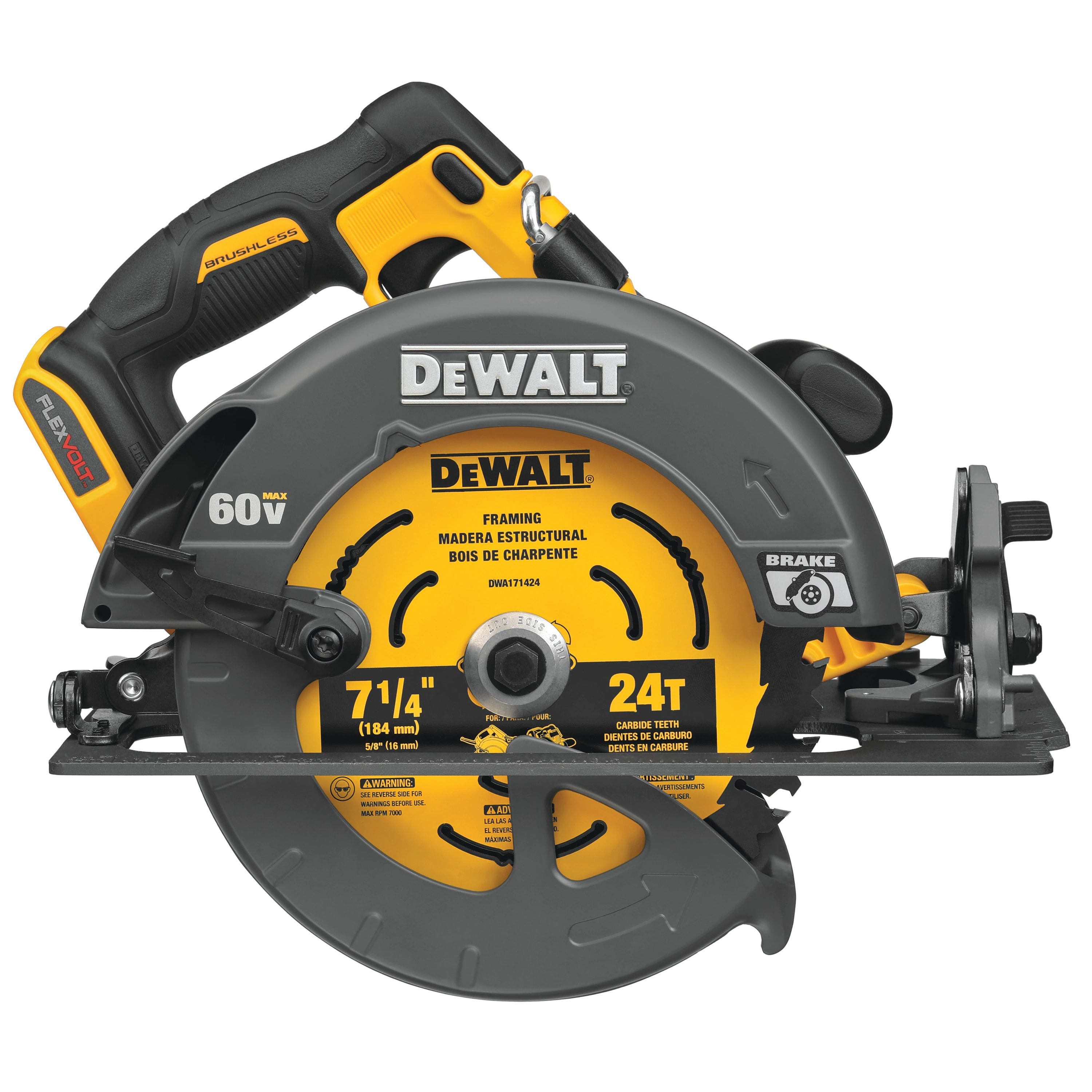 Cordless Circular Saw - FLEXVOLT® 60V MAX* Brushless 7-1/4 IN. w/ Brake (TOOL ONLY) - Saws
